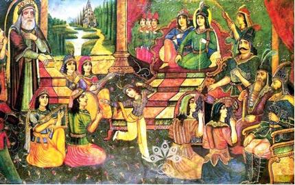 نقاشی قهوهخانهای بارگاه یوسف و زلیخا
