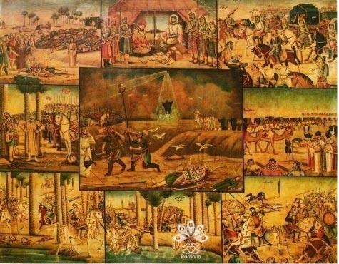 نقاشی قهوهخانهای مصیبت کربلا- گودال قتلگاه اثر عمل محمد مدبر