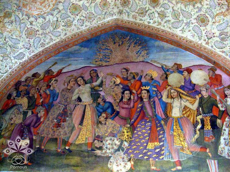 نقاشی دیواری (فرسک) بر روی یکی از دیوارهای کاخ چهلستون اصفهان