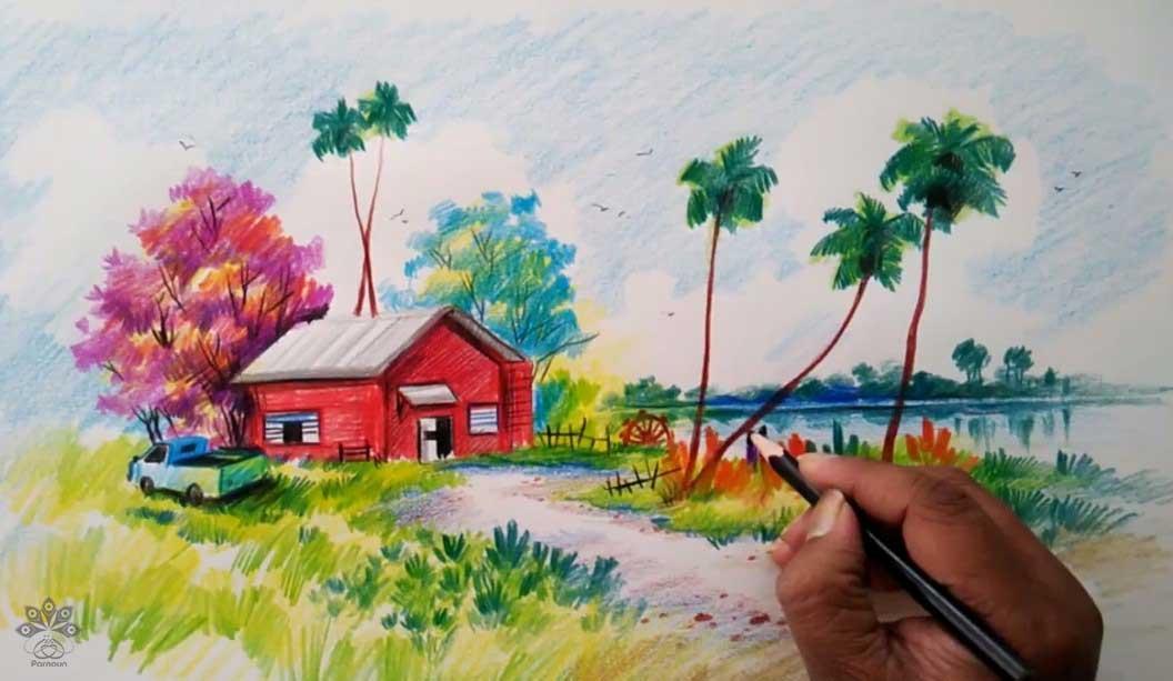 نقاشی منظره با مداد رنگی