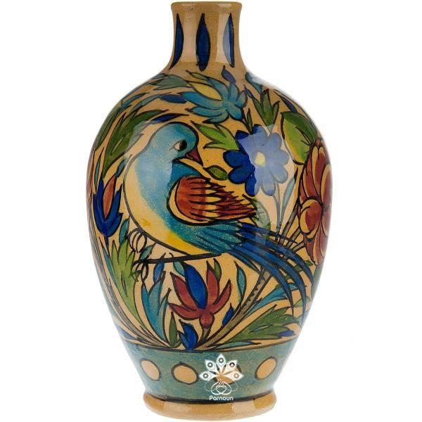 گلدان سفالی تزئین شده با لعاب هفت رنگ